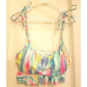 PINK Victoria's Secret Neon Ruffle Swim Bikini Top